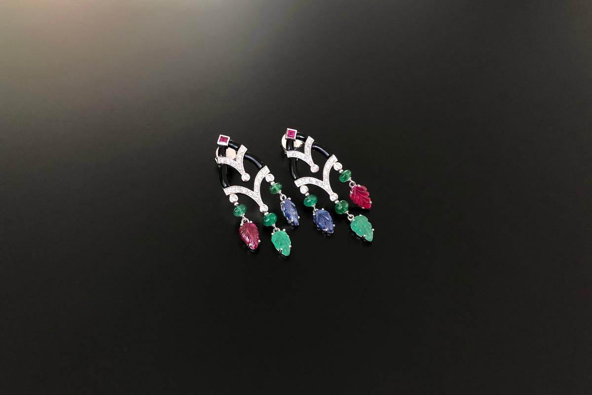 Onyx, Diamond, Emerald, Ruby and Sapphire Earrings