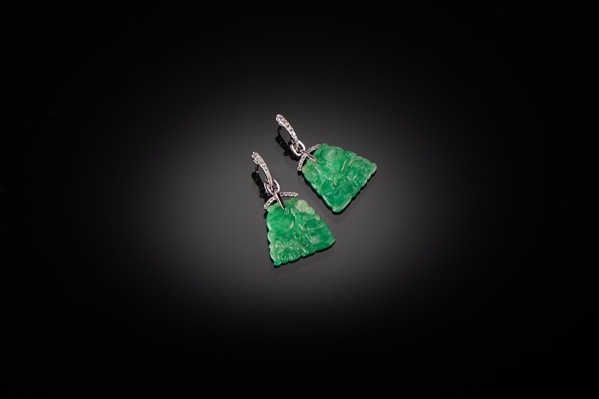 Jadeite and Diamond Earrings