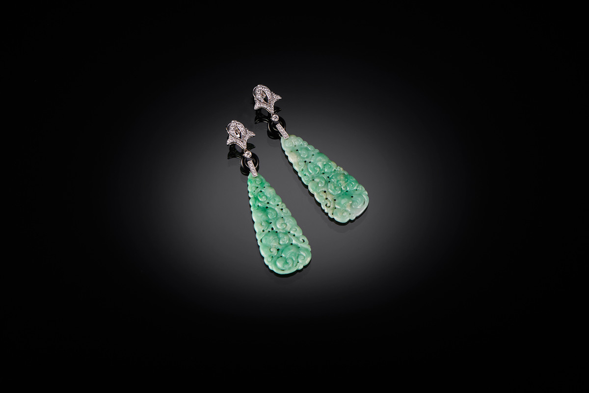 Jadeite, Onyx and Diamond Earrings