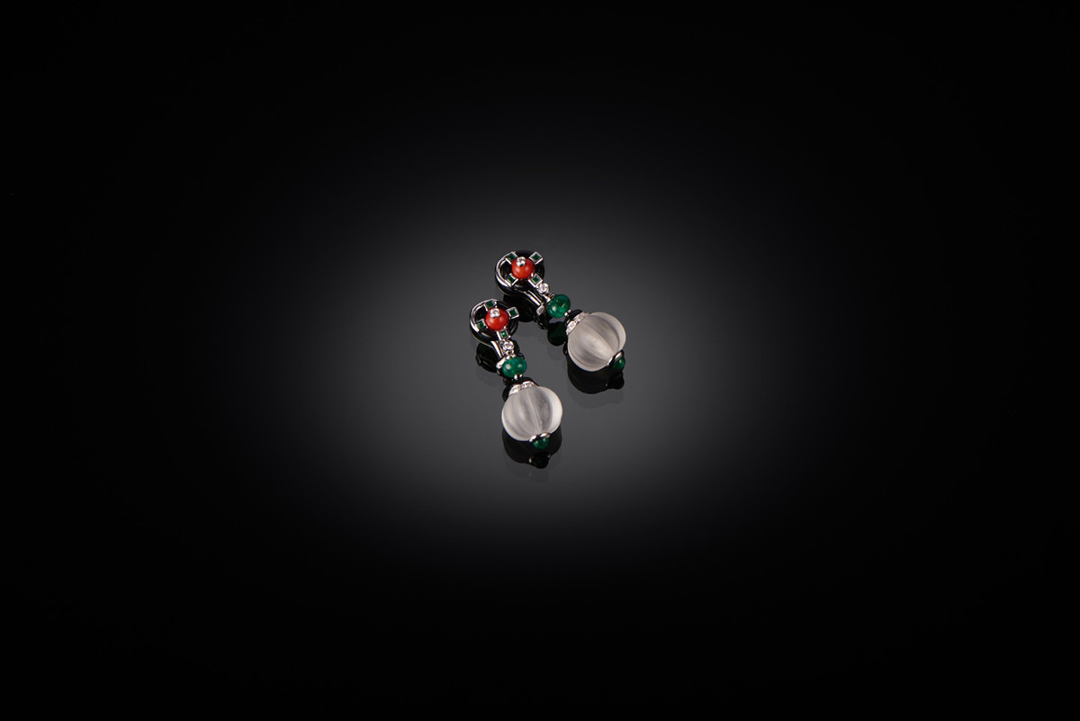 Onyx, Coral, Emerald, Diamond and Rock Crystal Earrings