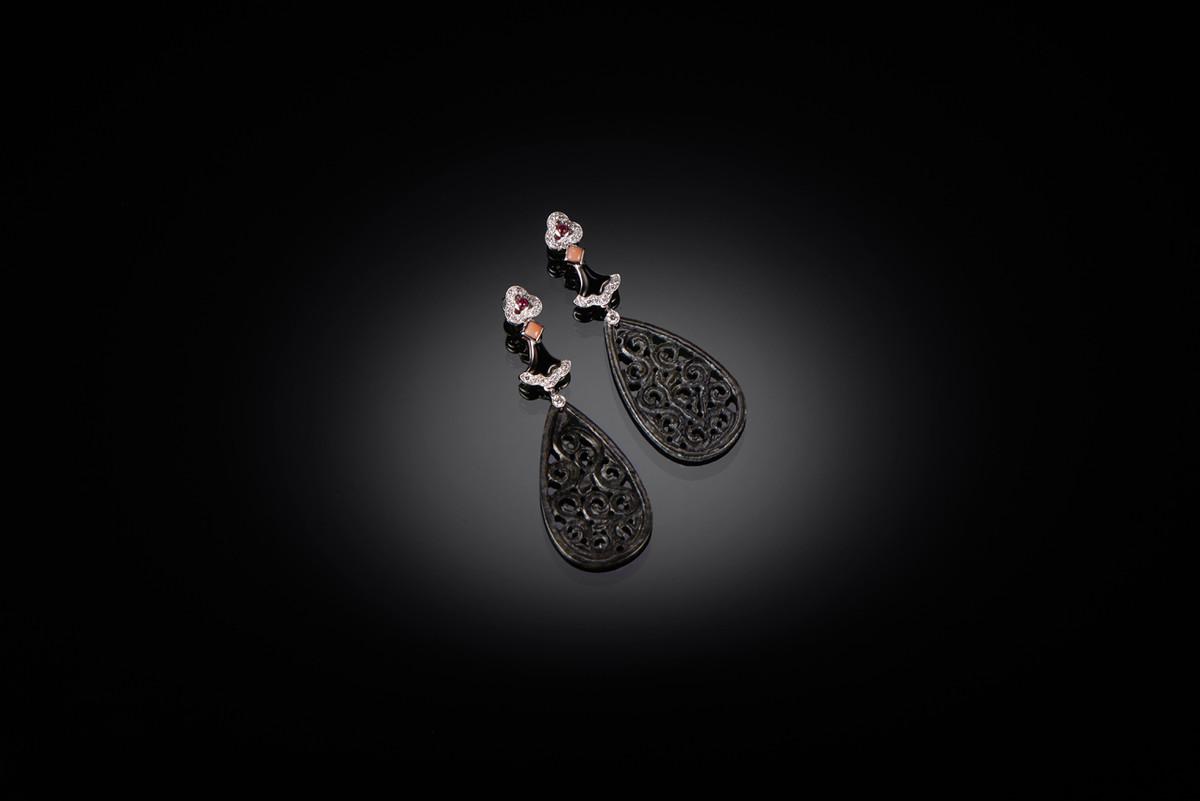 Black Jadeite, Diamond, Ruby, Coral and Onyx Earrings