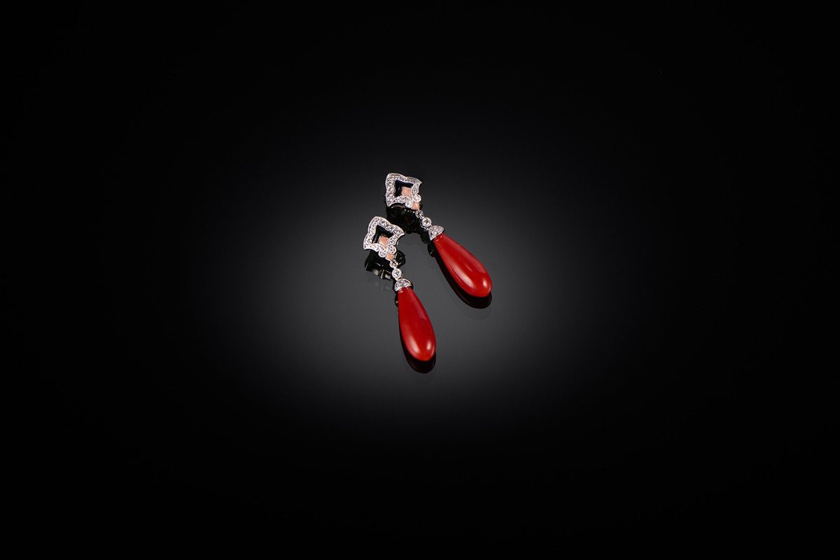 Coral, Diamond and Onyx Earrings