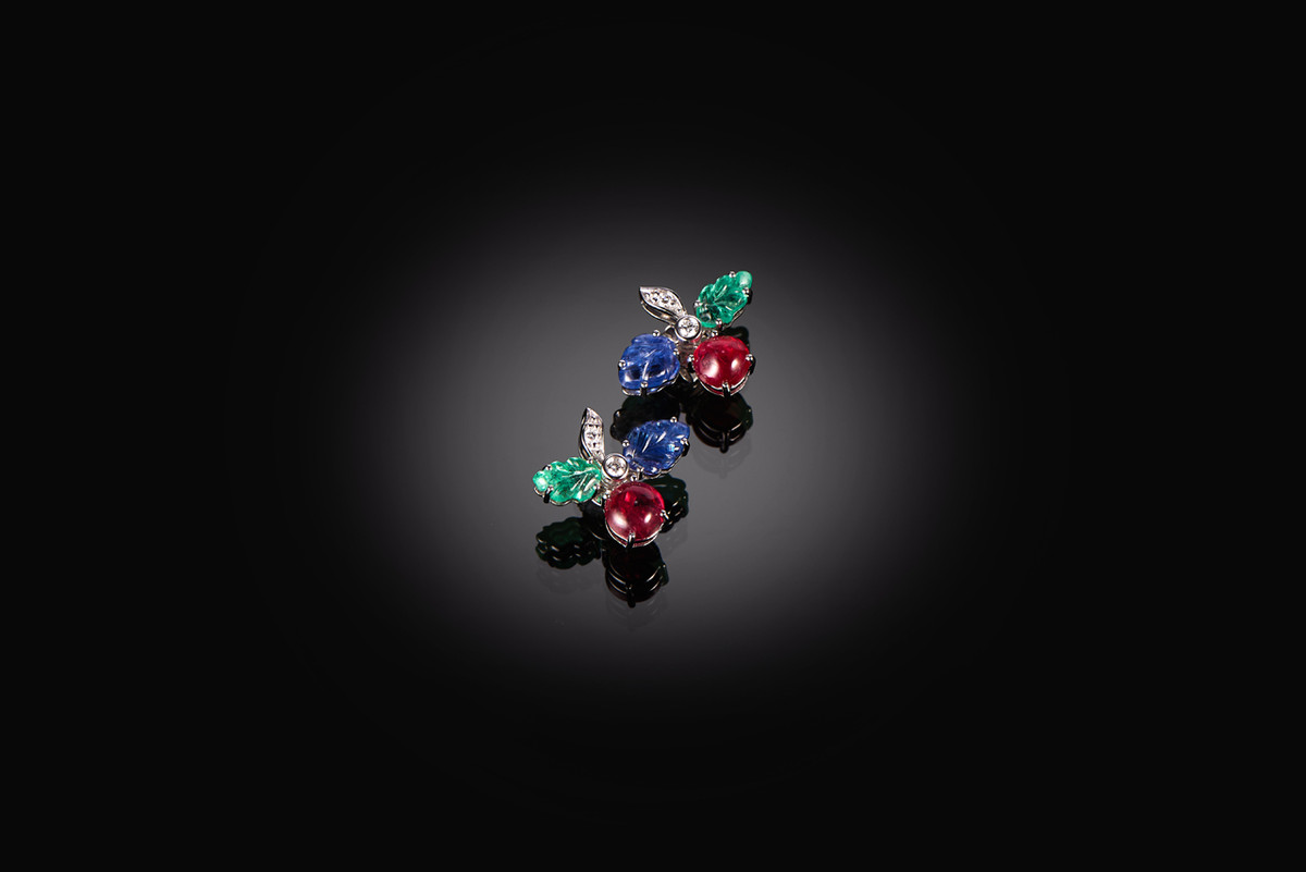 Red Spinel, Sapphire, Emerald and Diamond Earrings