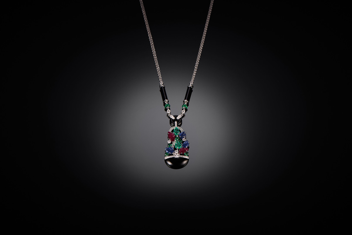Gem set Gardiniere Pendant Necklace with sapphire, diamond, ruby and emerald.