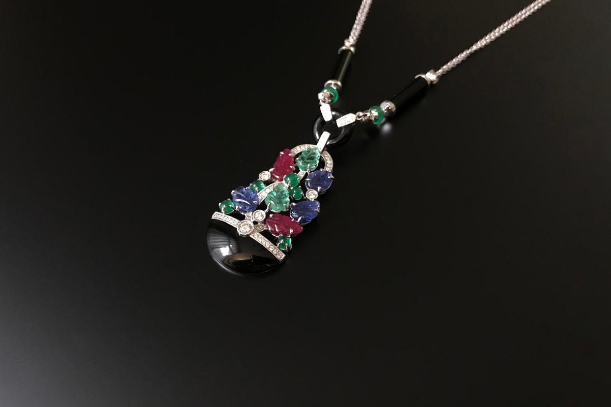 Gem set Gardiniere Pendant Necklace with sapphire, diamond, ruby and emerald.