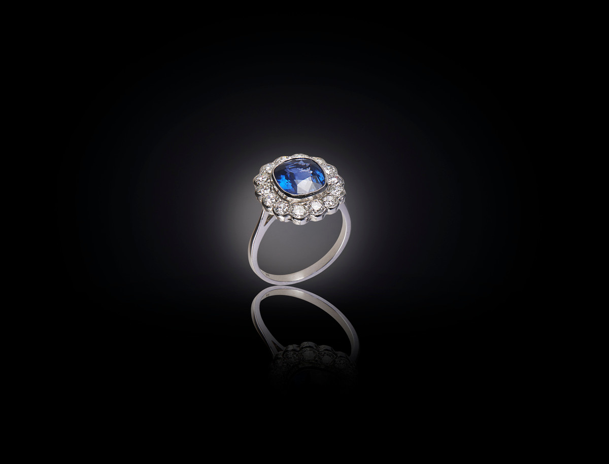 A Stunning Sapphire and Diamond Cluster Ring
