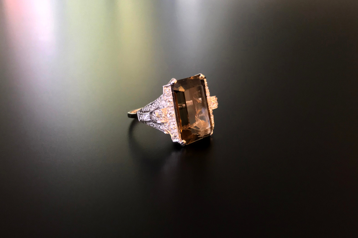Smokey Quartz and diamond ring. Vintage.