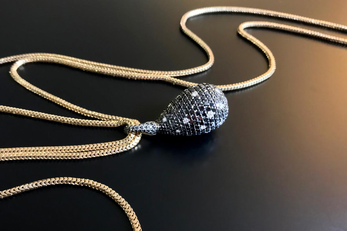 Black and White Diamond Egg Pendant