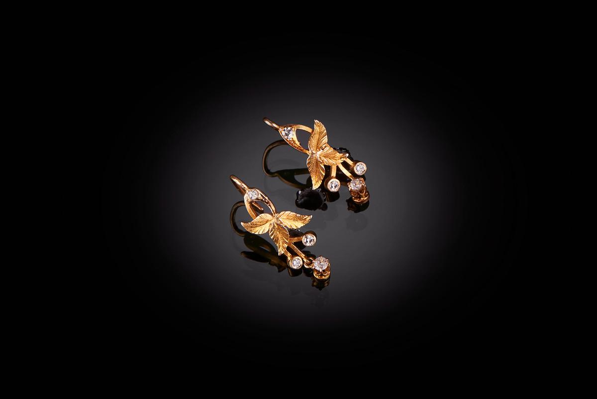 Art Nouveau gold and diamond earrings.