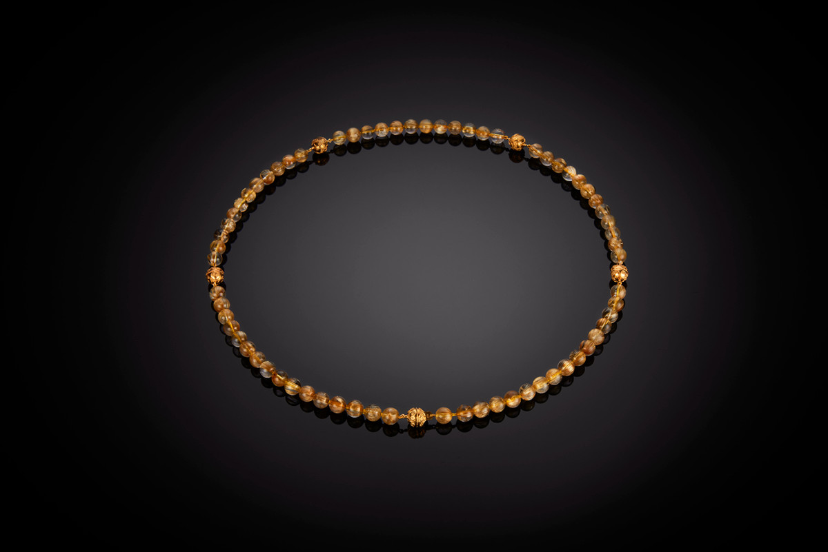 Golden quartz and Indian mogul gold bead necklace