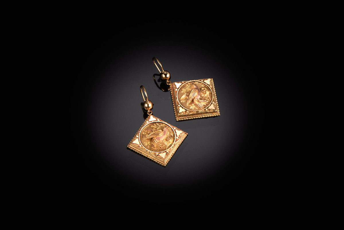 Aesthetic Movement gold earrings, square panels with applied bird motif and foliate decoration 15ct yellow gold Victorian