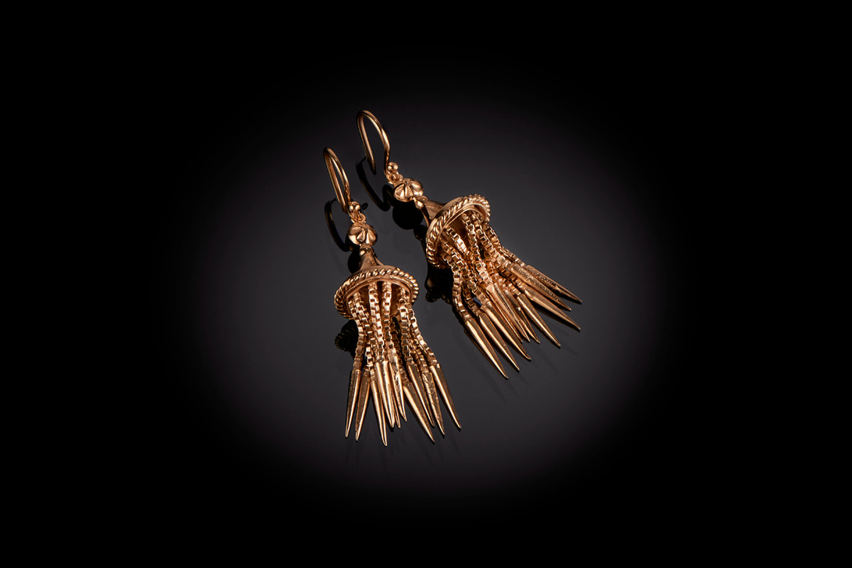 Gold Tassel earrings with pagoda style caps Hook fittings 9ct gold
