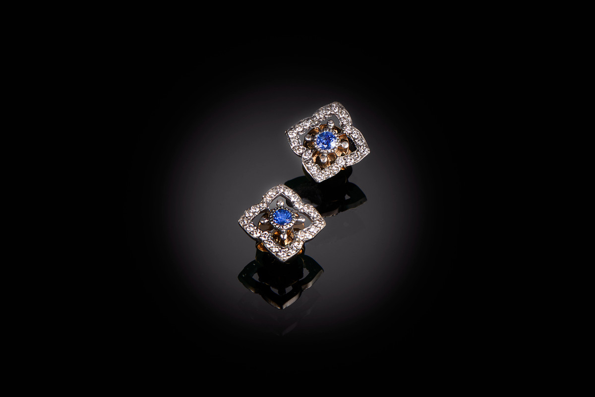 Sapphire and diamond earrings 15ct gold and silver  Edwardian