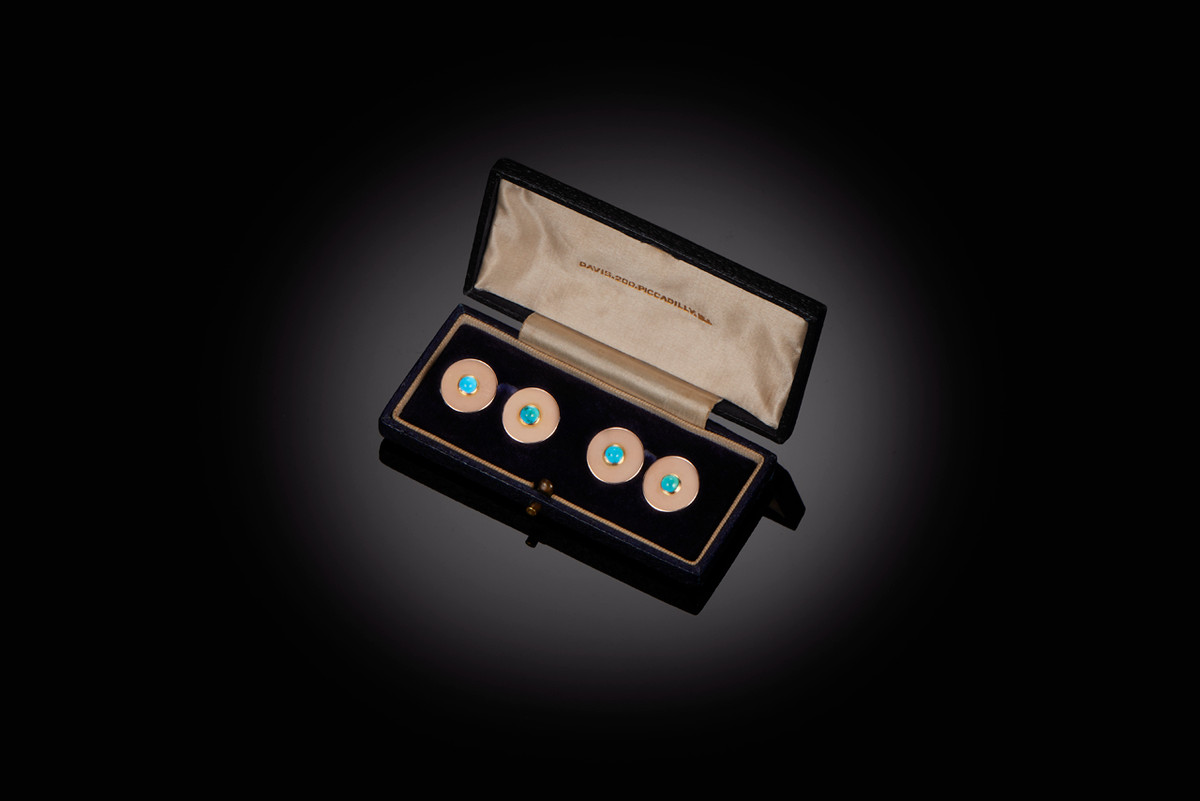 Gold and turquoise cufflinks
