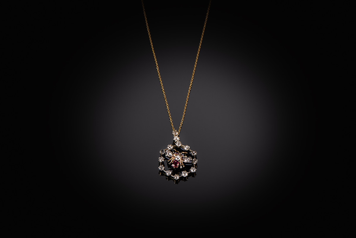 Diamond Ruby Bee Pendant