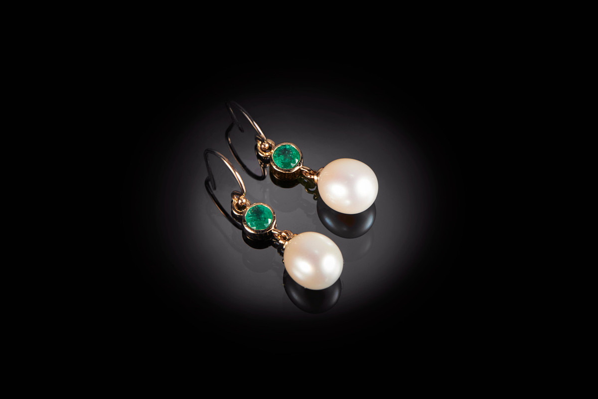 Freshwater pearl and emerald drop earrings  with round emerald weighing 0.14cts  18ct yellow gold