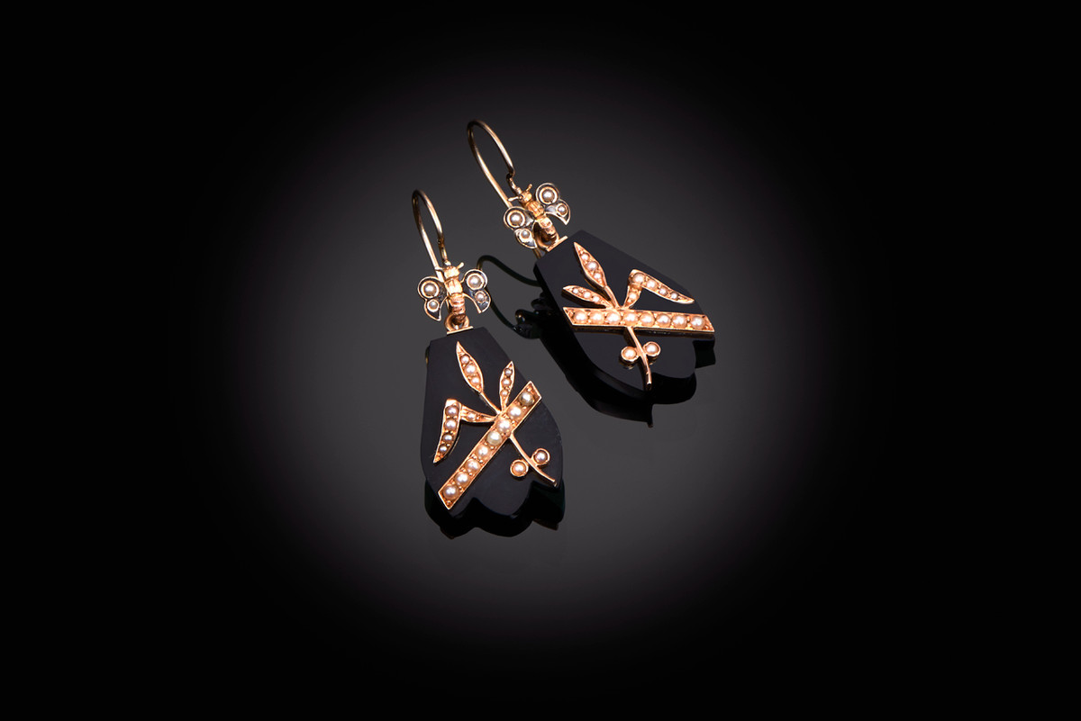 Victorian Onyx, Seed Pearl and Gold Earrings