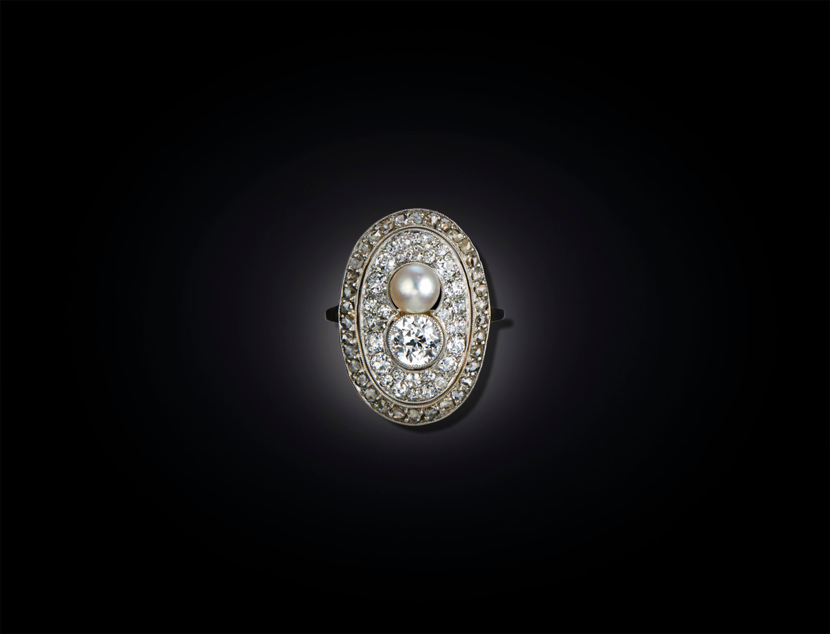 Belle Epoque Diamond and Pearl Plaque Ring