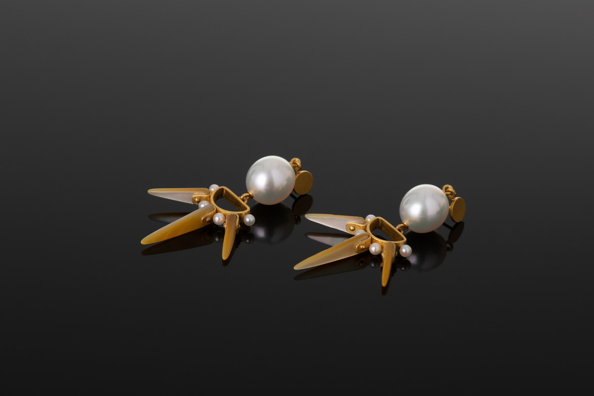 Shell and South Sea Pearl earrings with Akoya Pearl detailing.  22ct yellow gold. Lisa Black jewellery.