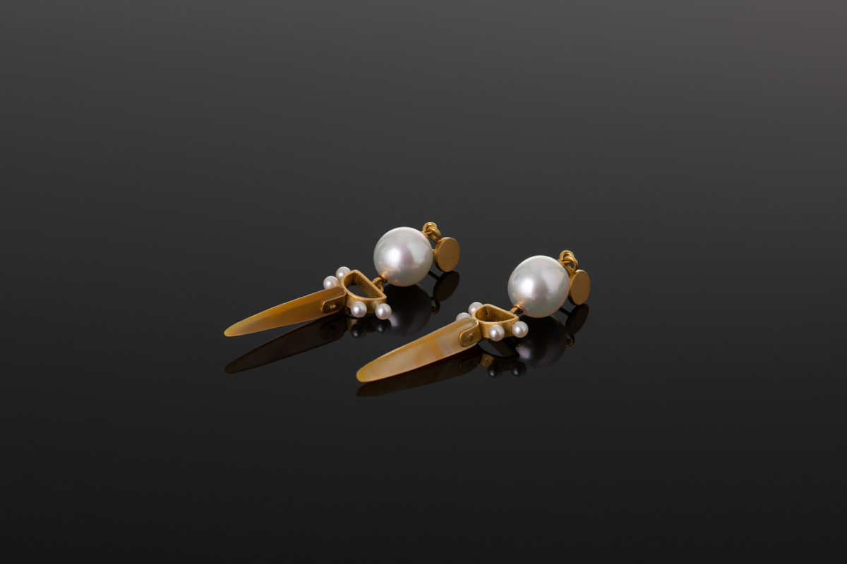 Shell and South Sea Pearl earrings (V2)  Akoya Pearl detailing.  22ct yellow gold.
