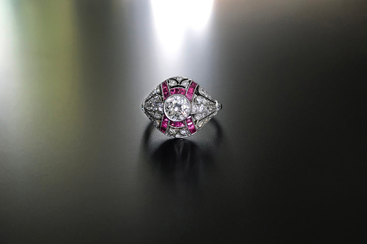 Art Deco Diamond and Ruby ring in platinum.