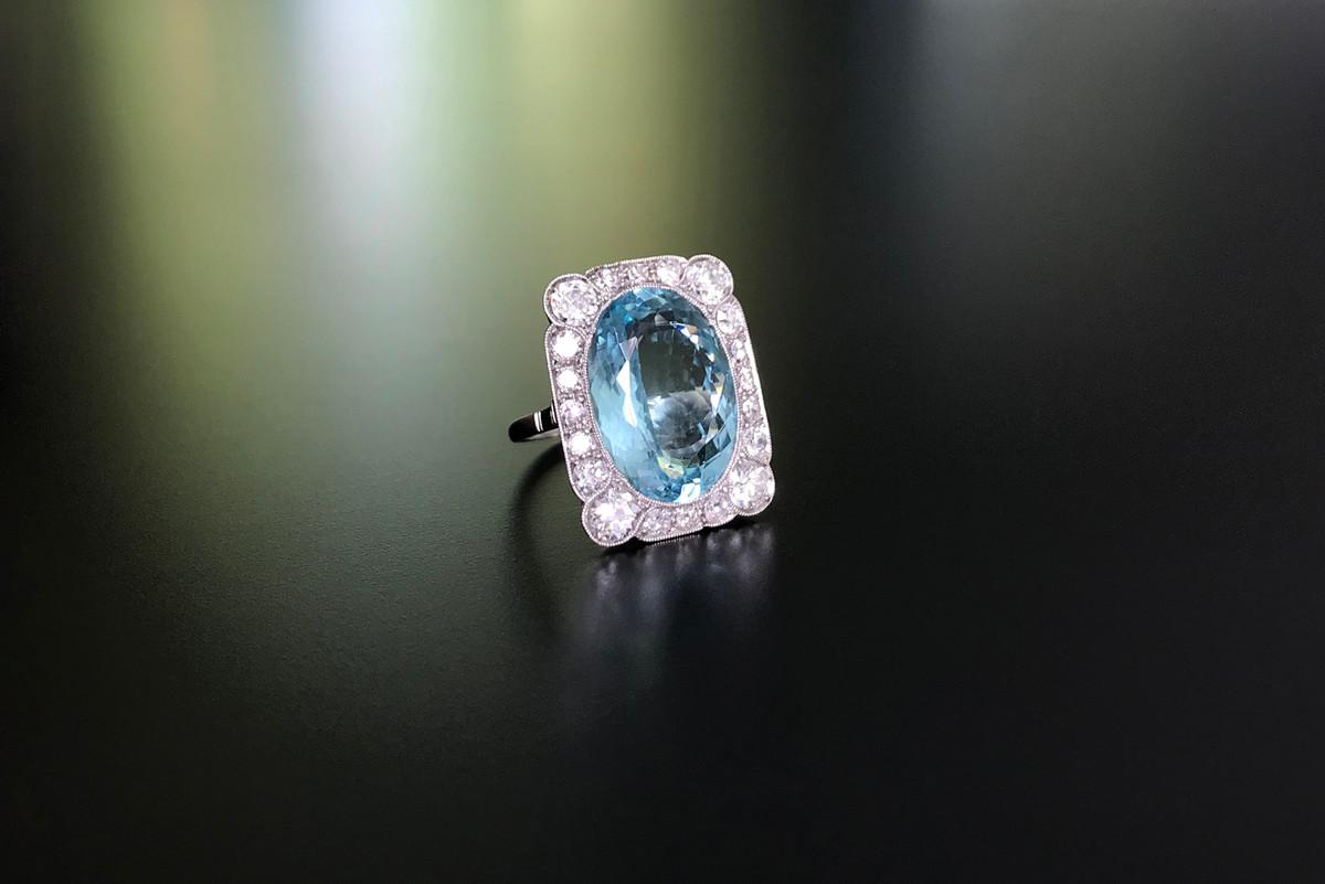 Aquamarine and Diamond Plaque Ring Art Deco, Platinum.