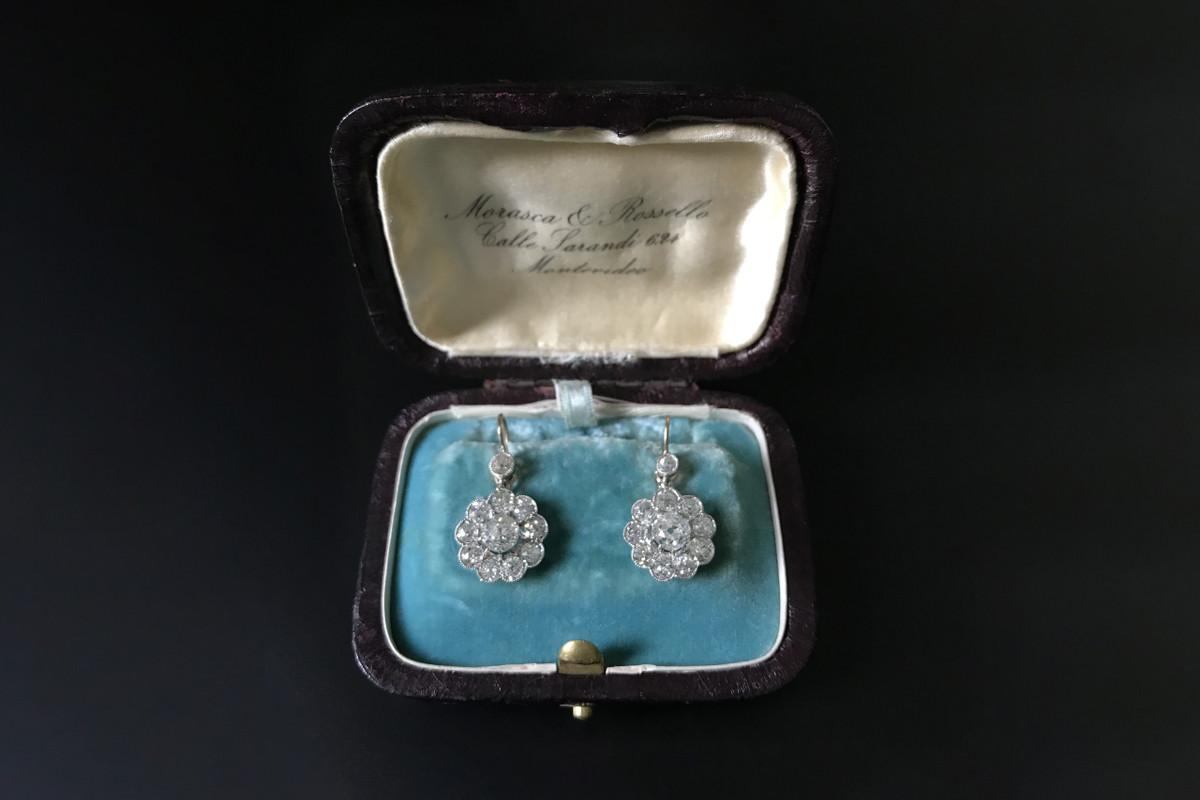 Diamond daisy cluster earrings. Antique.