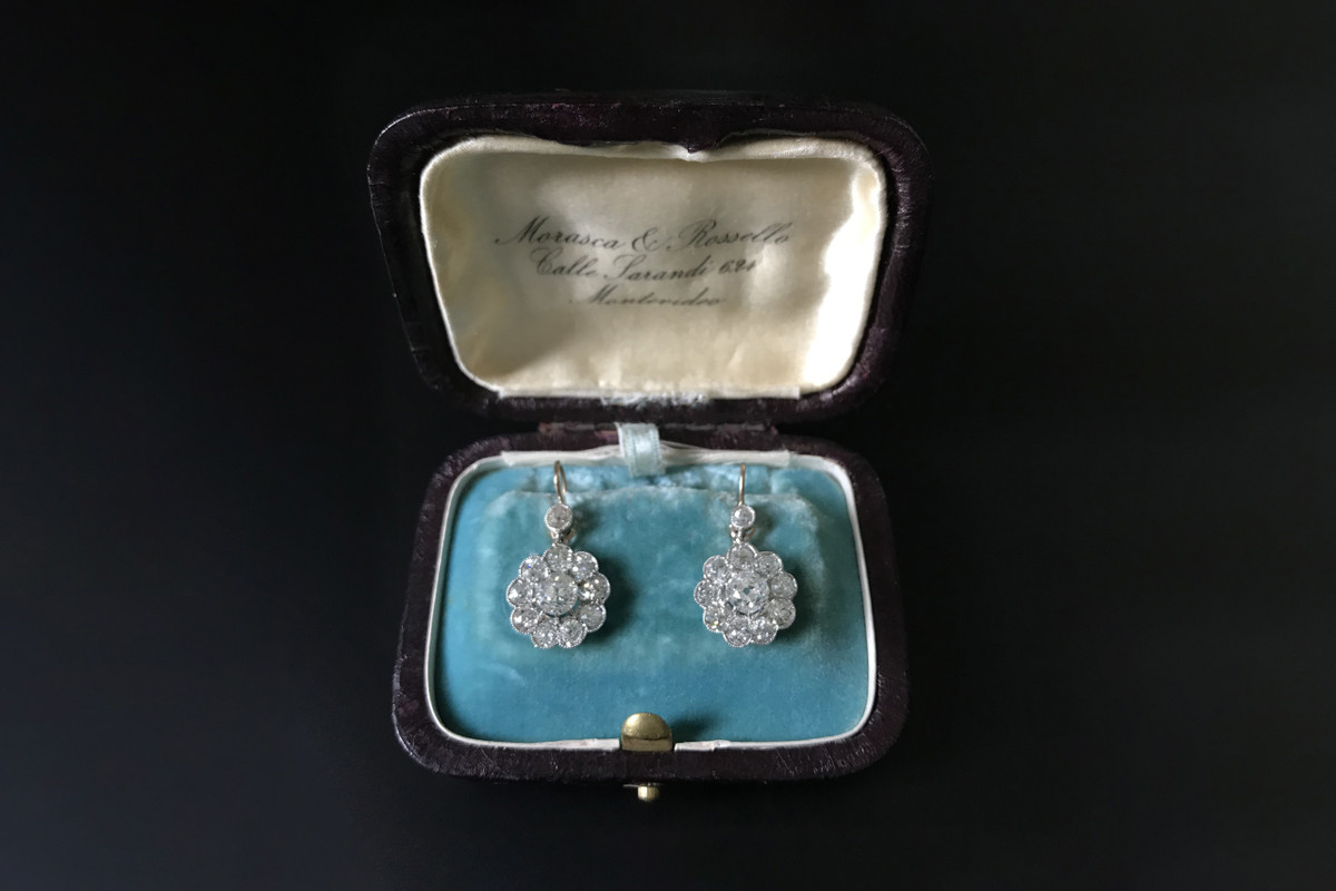 Diamond daisy cluster earrings. Antique.
