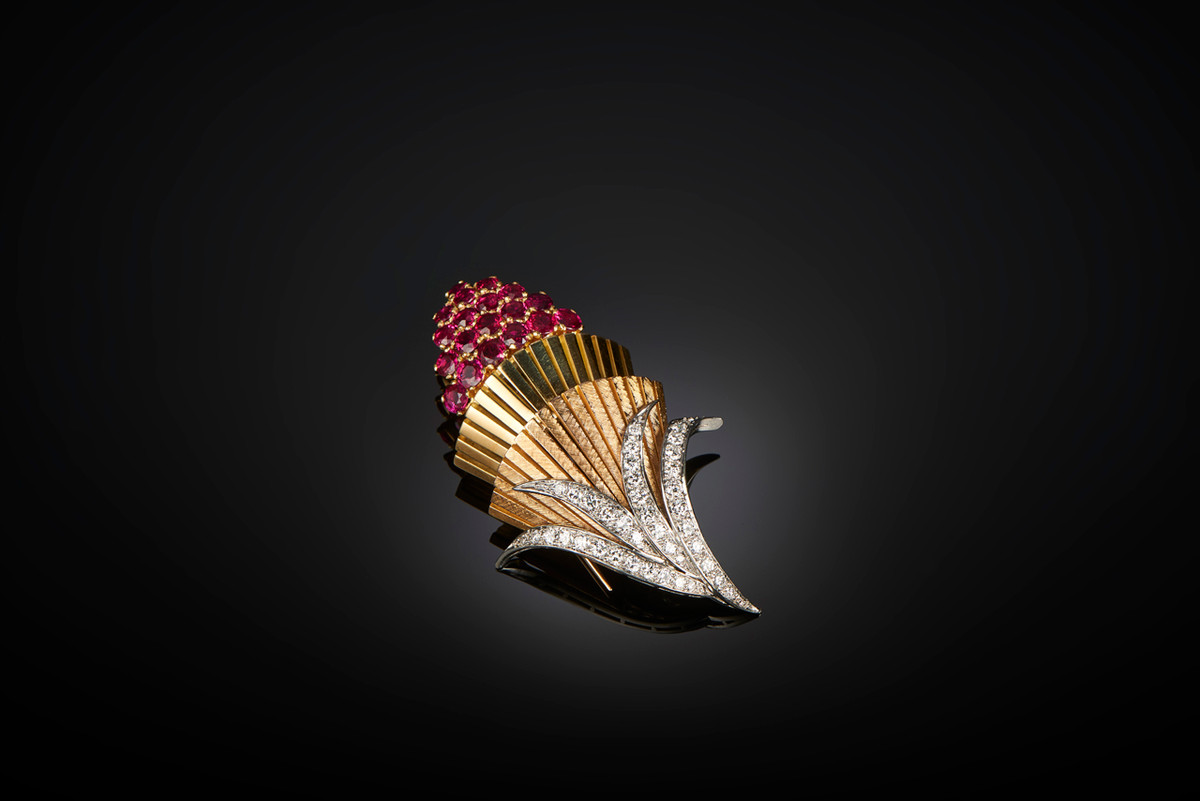 Gold, Ruby and Diamond Brooch by Cartier. Tri colour gold. Vintage, 1960.