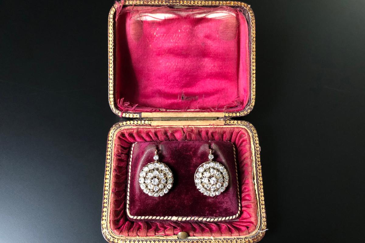 Diamond Cluster Earrings. Antique.