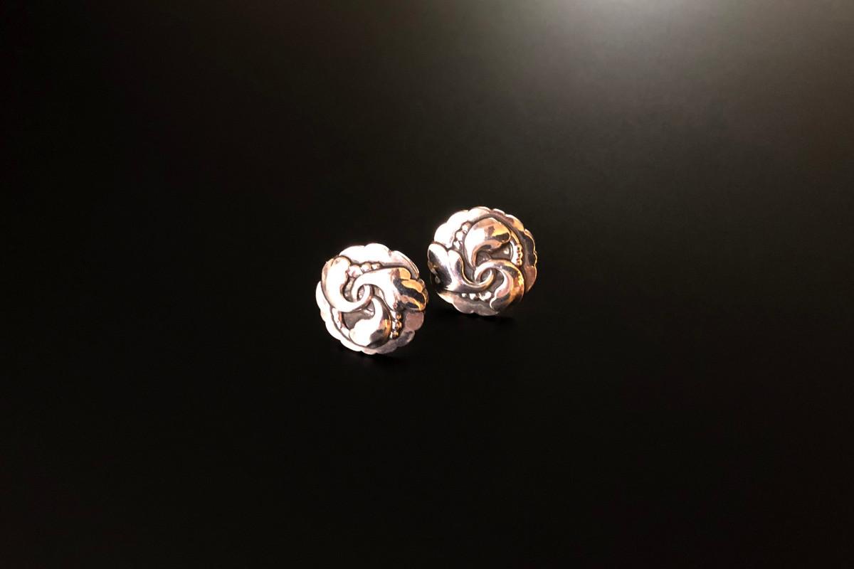 Georg Jensen Sterling Silver Earrings Circular panels with foliate wreath design