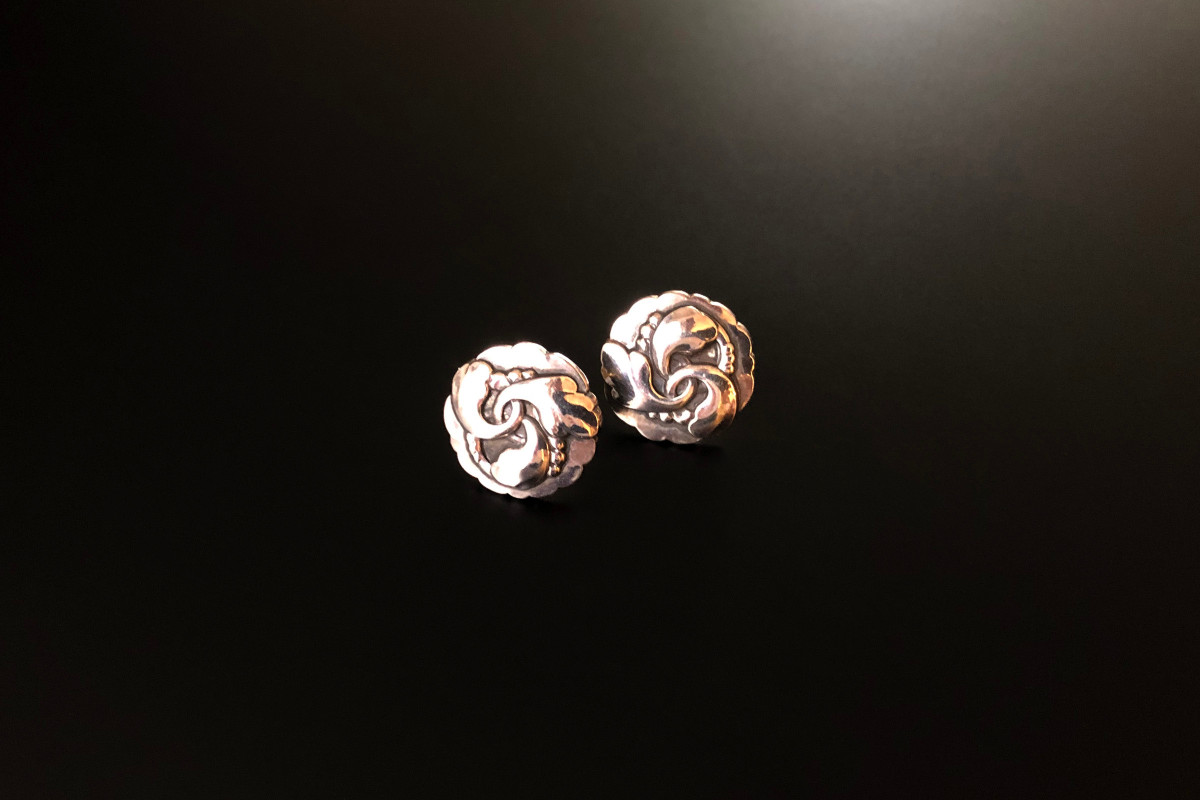 Georg Jensen Sterling Silver Earrings Circular panels with foliate wreath design