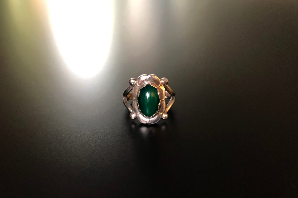 Georg Jensen Sterling Silver and Chrysoprase Ring Oval chrysoprase cut en cabochon Sterling silver