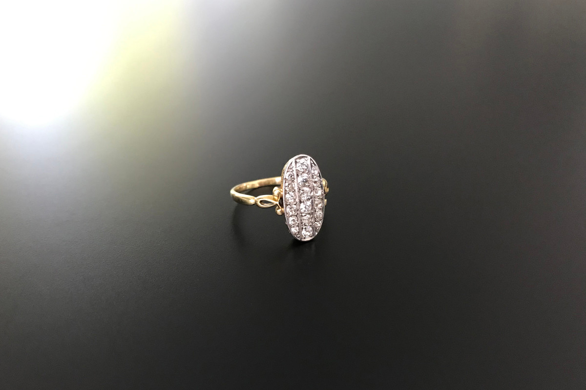 Oval diamond plaque ring. Antique.