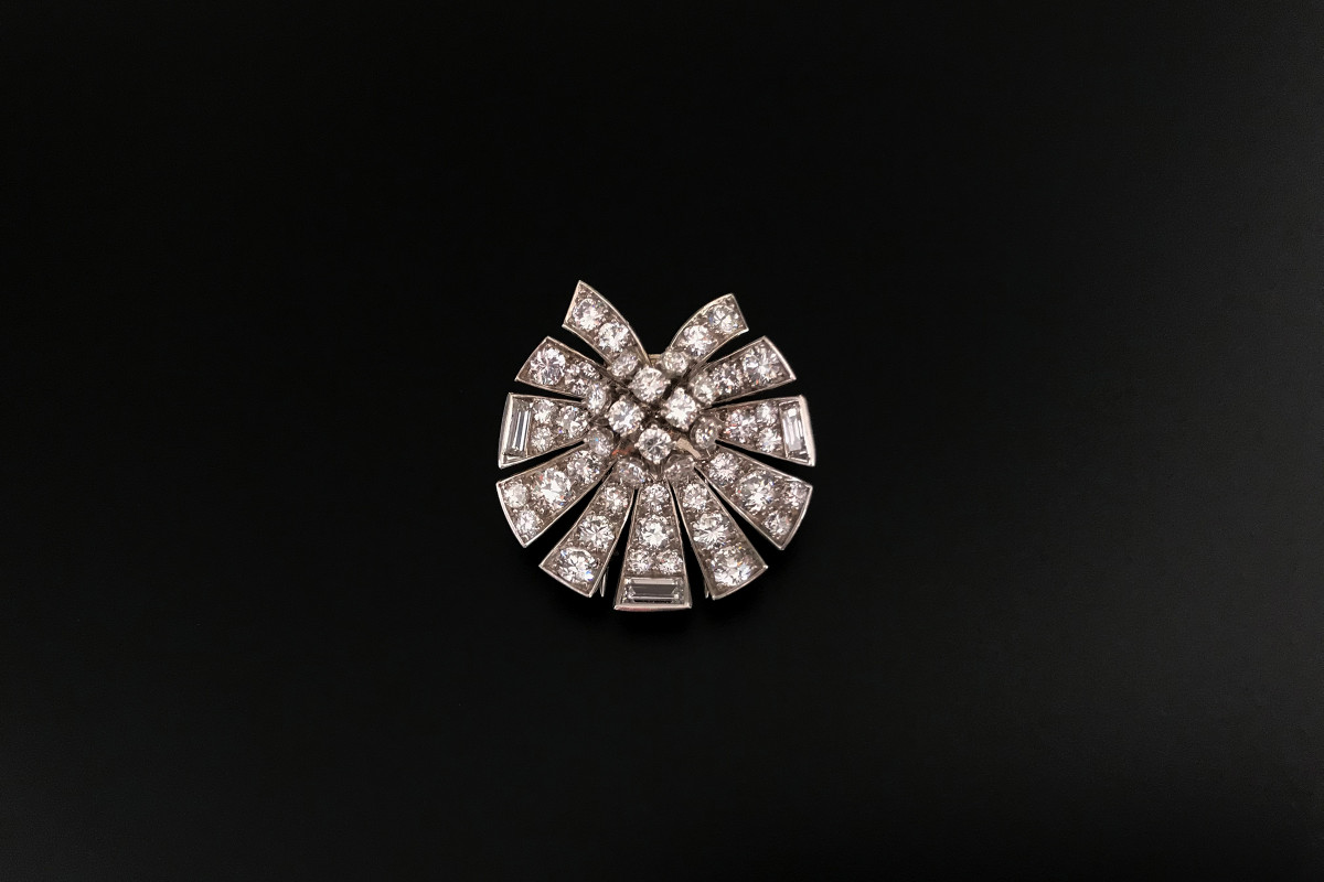 Diamond Spray Brooch by Van Cleef and Arpels. Vintage.