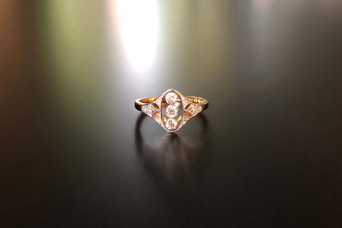 Dainty Diamond Plaque Ring. Edwardian.