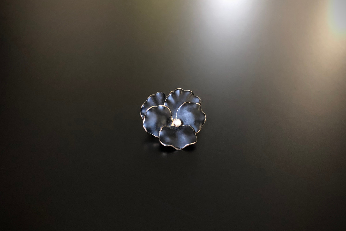 Gold and Enamel Pansy Brooch by Krementz