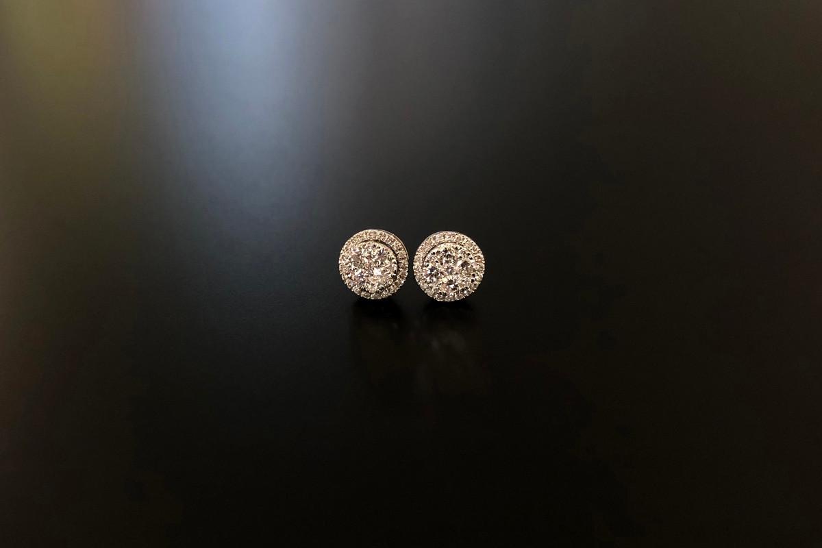 Round diamond cluster earrings.