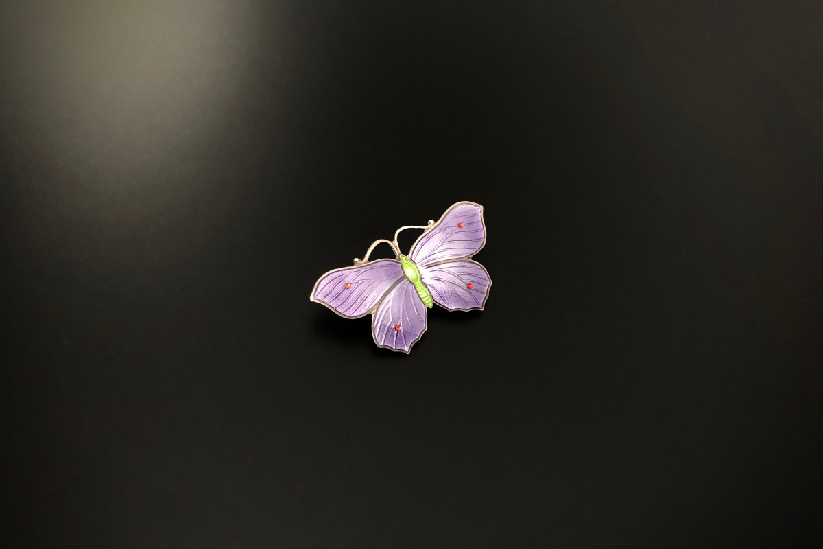 Sterling Silver and Enamel Butterfly Brooch. Vintage