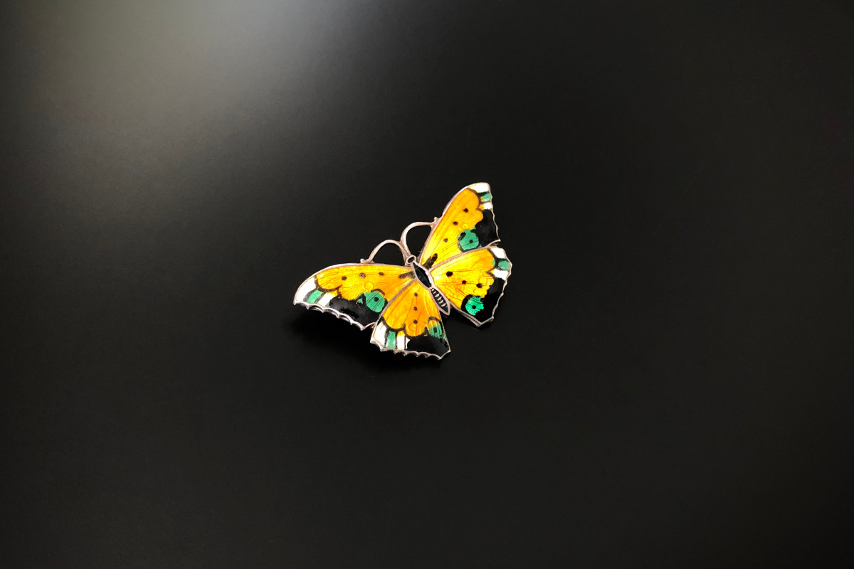 Vintage Sterling Silver and Enamel Butterfly Brooch.