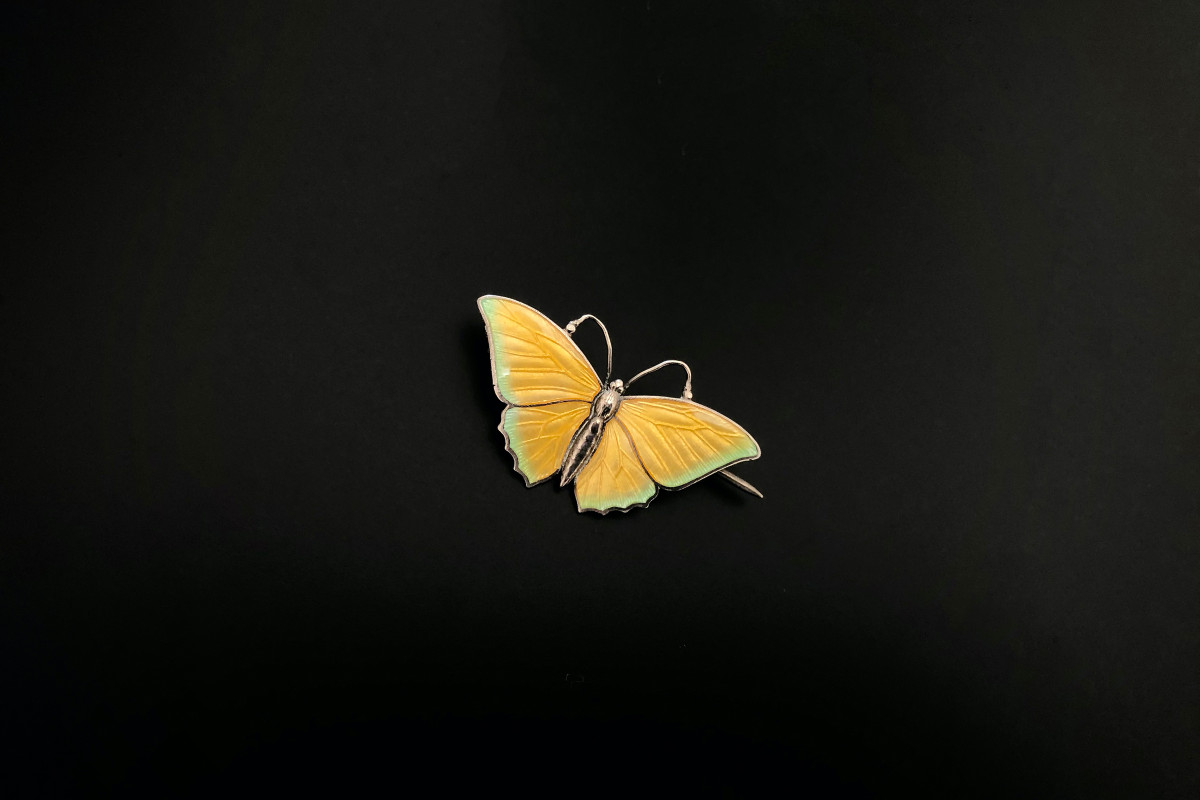 Enamel and Sterling Silver Butterfly Brooch by Charles Horner