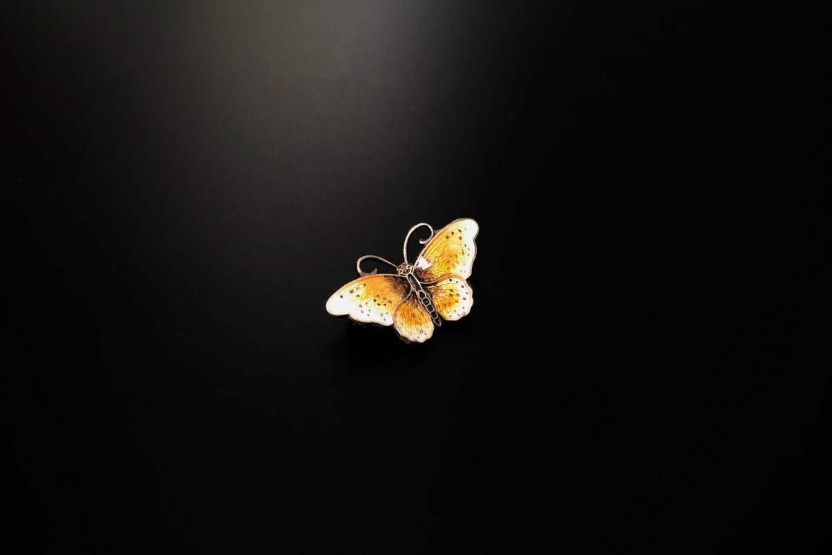 Norwegian Sterling Silver and Enamel Butterfly Brooch