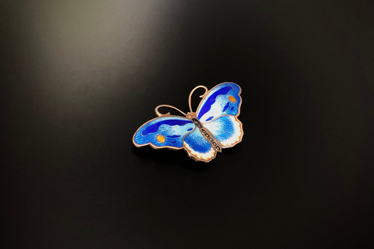 Two tone royal blue Enamel and Sterling Silver Butterfly Brooch. Vintage
