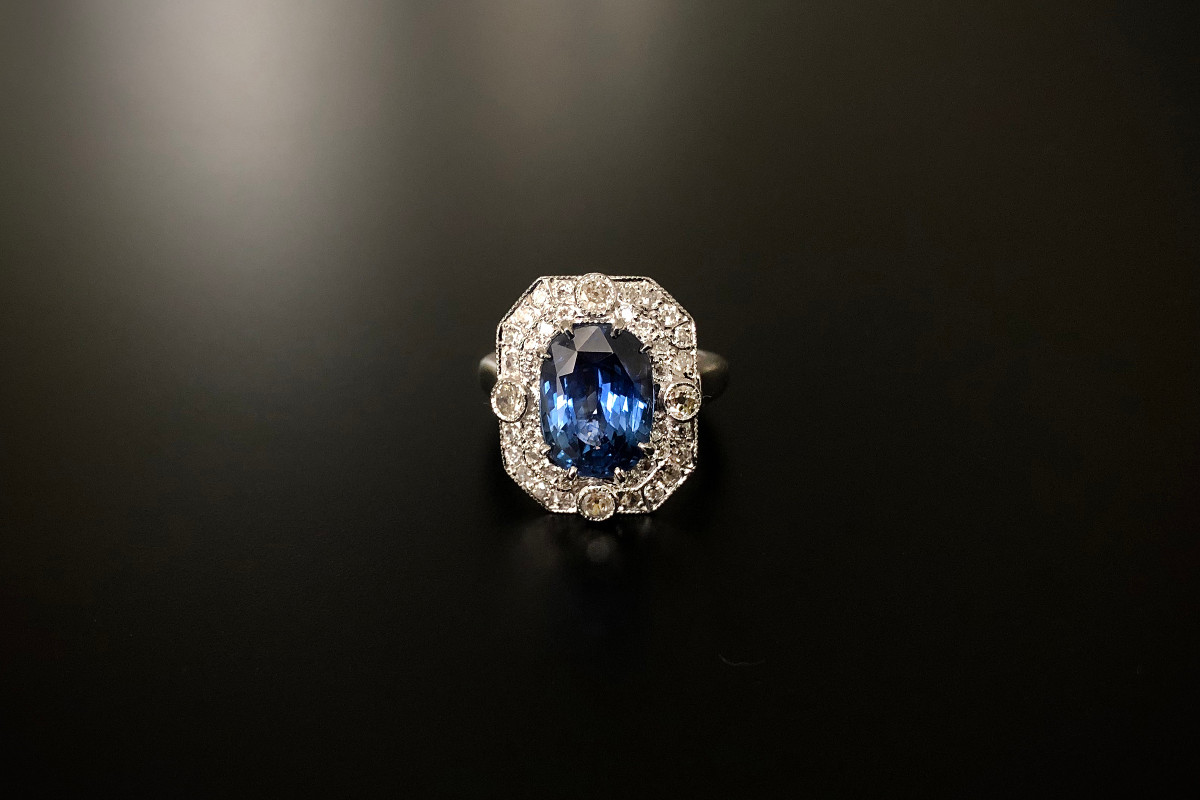 Kozminsky Sapphire and diamond ring.