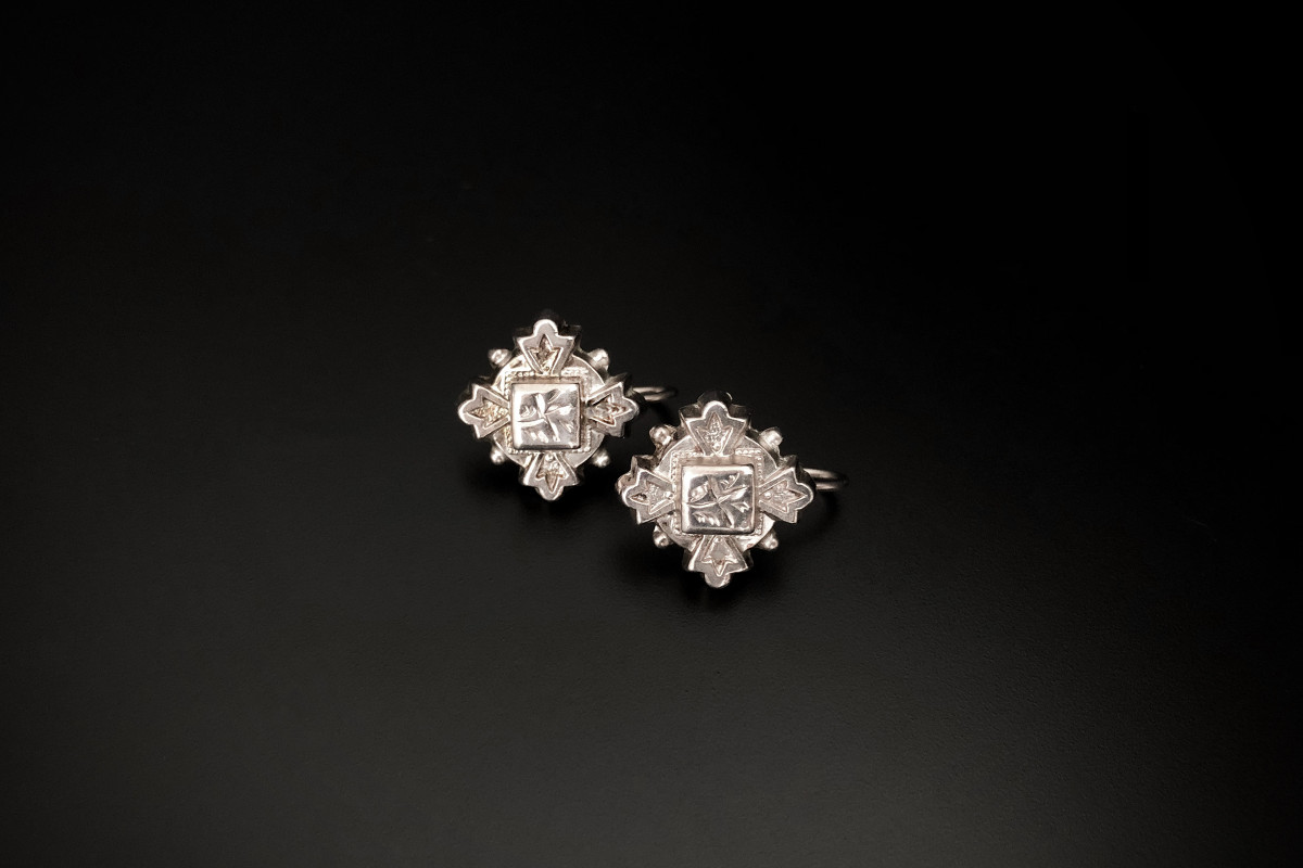 Pair of Sterling Silver Earrings Cross formation with engraved and bead detail Hook fittings Sterling silver Victorian Total weight: 1.7gms