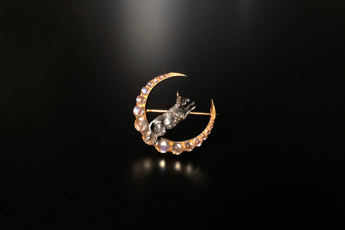 An Exceptional Moonstone, Diamond and Gold Allegorical Brooch  18ct gold and silver.