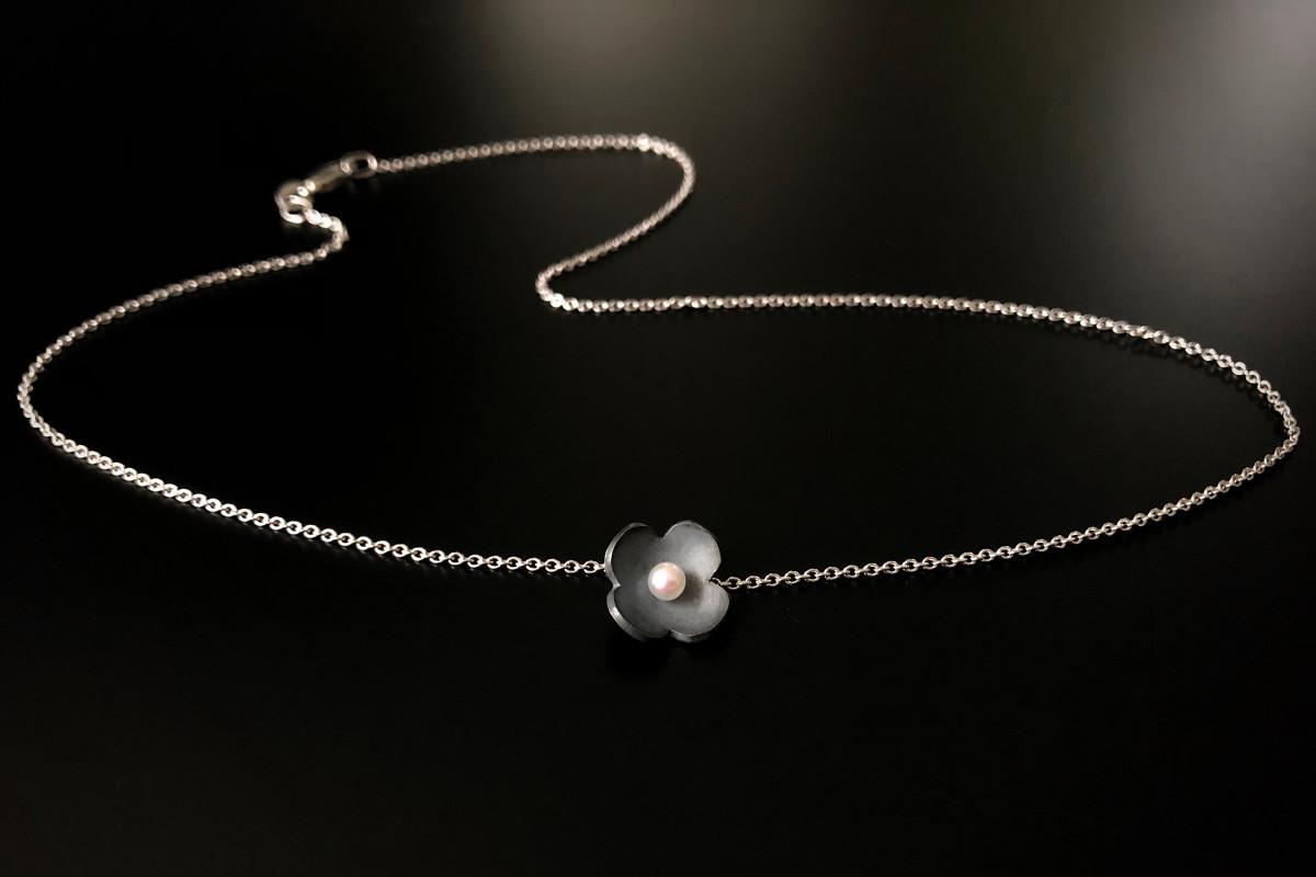 Sakura pendant with Akoya Pearl. Oxidized silver.