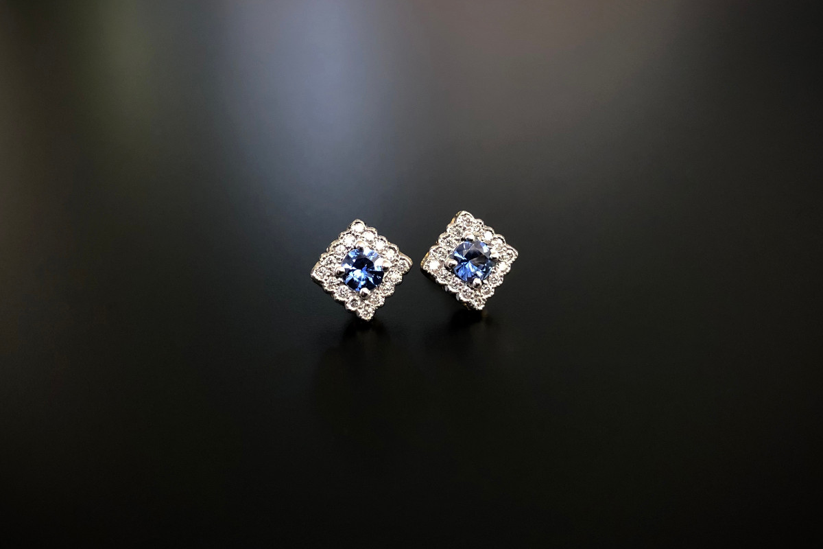 A Lovely Pair of Sapphire and Diamond Cluster Earrings