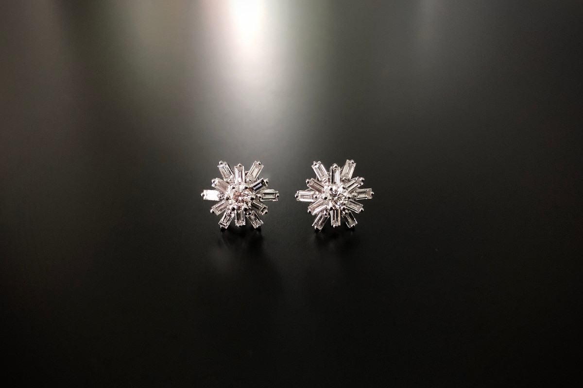 A Divine Pair of Diamond Star Cluster Earrings