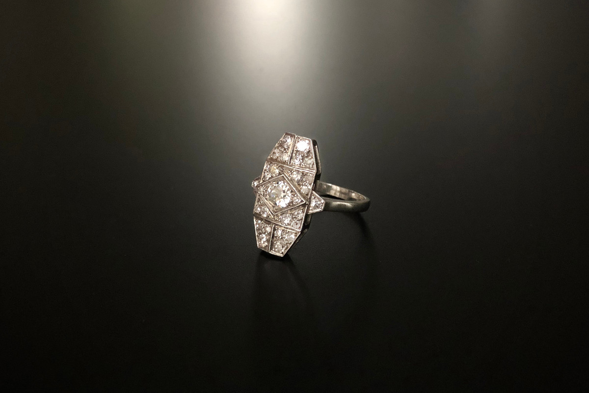 An Elegant French Diamond Plaque Ring